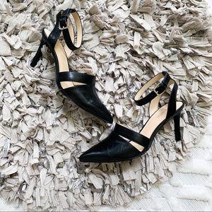 Nine West Saldana Black Leather Heels